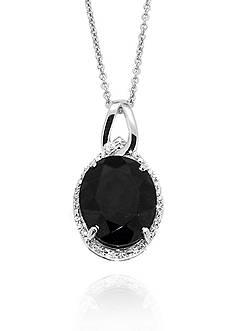 Belk & Co. Onyx & Diamond Oval Pendant set in Sterling Silver