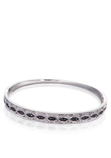 Belk & Co. Blue and White Diamond Bangle in Sterling Silver