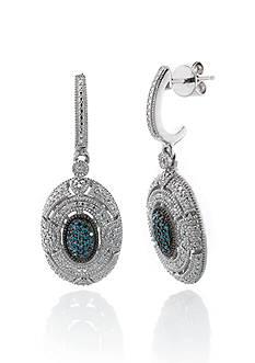 Belk & Co. White and Blue Diamond Earrings in Sterling Silver
