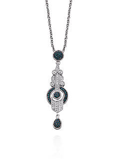 Diamond and Treated Blue Diamond Vintage Pendant in Sterling Silver