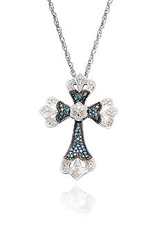 Belk & Co. Blue and White Diamond Cross Pendant in Sterling Silver