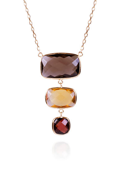 Belk & Co. Smoky Quartz, Citrine, and Garnet Necklace in 14k Yellow Gold