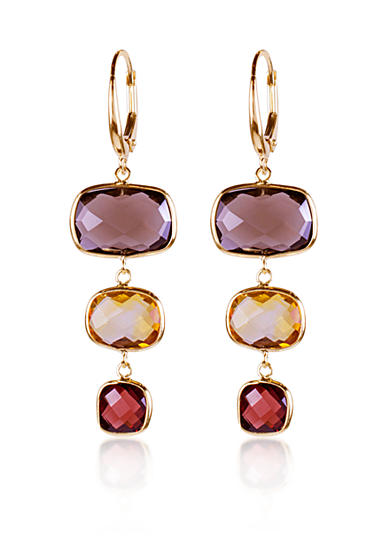 Belk & Co. Smoky Quartz, Citrine, Garnet Dangle Earrings in 14k Yellow Gold