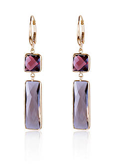 Belk & Co. Garnet and Smoky Quartz Earrings in 14k Yellow Gold