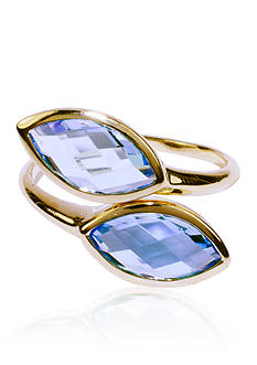 Belk & Co. Blue Topaz Open By-Pass Ring in 14k Yellow Gold
