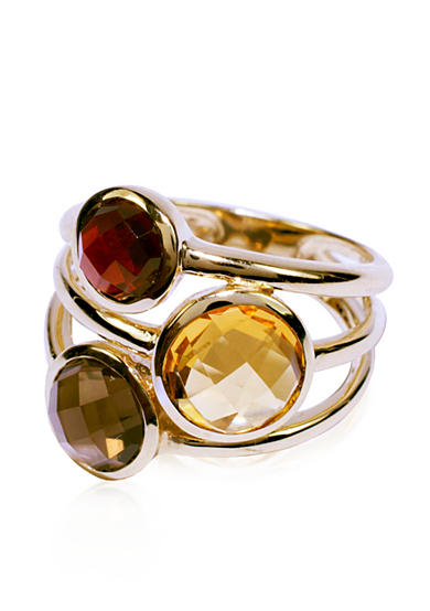 Belk & Co. Garnet, Citrine, and Smoky Quartz Ring in 14k Yellow Gold