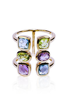 Belk & Co. Swiss Blue Topaz, Amethyst, and Peridot Open Ring in 14k Yellow Gold