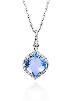 Belk & Co. Blue Topaz and White Topaz Pendant in Sterling Silver