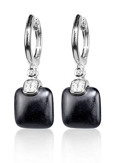 Belk & Co. Onyx and White Topaz Earrings in Sterling Silver