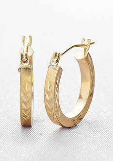 Belk & Co. 14k Square Tube Wheat Design Hoop Earring