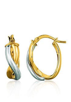 Belk & Co. 14k Two Tone Twisted Hoop Earrings