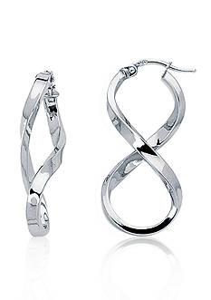 14k White Gold Figure Eight Hoop Earrings