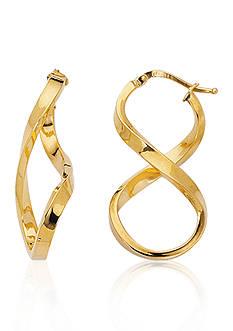 14k Yellow Gold Figure Eight Hoop Earrings