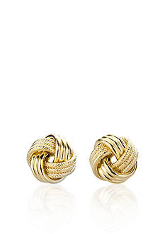 Belk & Co. Three Row Love Knot Earrings in Yellow Gold