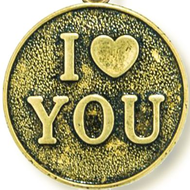 Personalized Jewelry: Inspirational: Yellow Gold-Tone Angelica I Love You Expandable Bangle