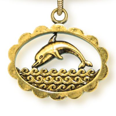 Personalized Jewelry: Animals & Critters: Yellow Gold-Tone Angelica Dolphin Expandable Bangle
