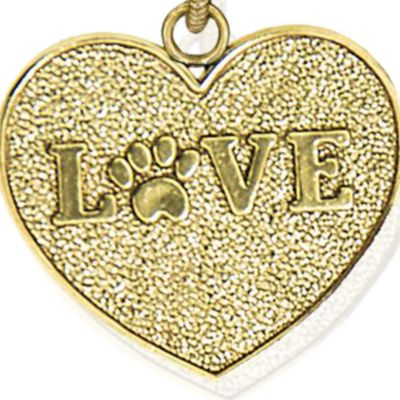 Personalized Jewelry: Animals & Critters: Yellow Gold-Tone Angelica Love Paw Print Expandable Bangle