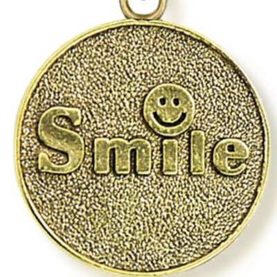 Personalized Jewelry: Symbols: Yellow Gold-Tone Angelica Smile Expandable Bangle