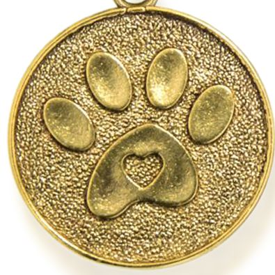 Personalized Jewelry: Animals & Critters: Yellow Gold-Tone Angelica Paw Print Expandable Bangle