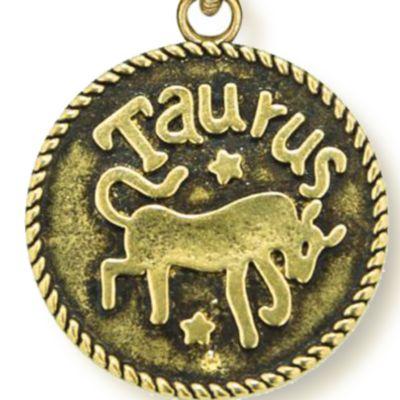 Personalized Jewelry: Zodiac: Yellow Gold-Tone Angelica Taurus Expandable Bangle