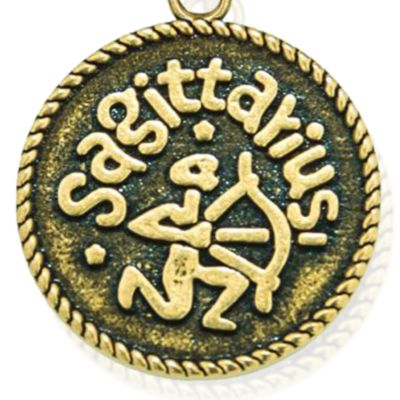 Personalized Jewelry: Zodiac: Yellow Gold-Tone Angelica Sagittarius Expandable Bangle