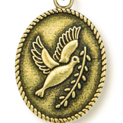 Animal Instincts: Bracelets: Yellow Gold-Tone Angelica Peace Dove Expandable Bangle