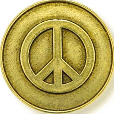 Personalized Jewelry: Symbols: Yellow Gold-Tone Angelica Peace Expandable Bangle