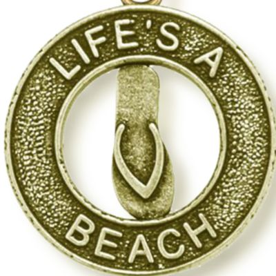 Personalized Jewelry: Symbols: Yellow Gold-Tone Angelica Life's a Beach Expandable Bangle