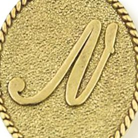 Personalized Jewelry: Symbols: Yellow Gold-Tone Angelica N Initial Expandable Bangle