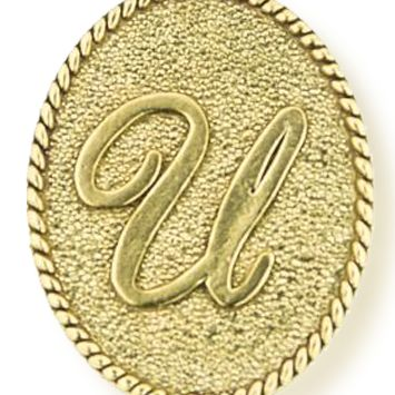 Personalized Jewelry: Symbols: Yellow Gold-Tone Angelica U Initial Expandable Bangle