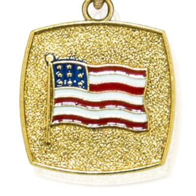 Personalized Jewelry: Bangles: Yellow Gold-Tone Angelica American Flag Expandable Bangle