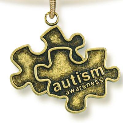 Personalized Jewelry: Symbols: Yellow Gold-Tone Angelica Autism Awareness Expandable Bangle