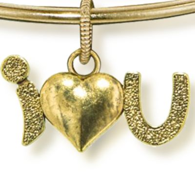 Personalized Jewelry: Symbols: Yellow Gold-Tone Angelica I Love You Expandable Bangle