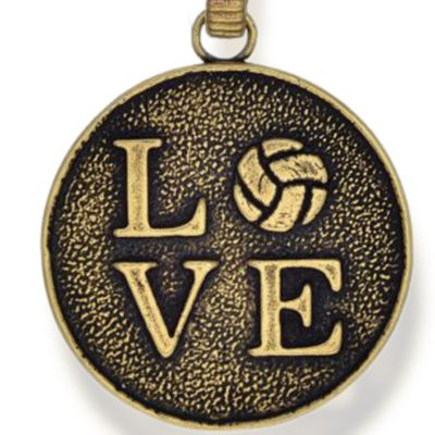 Personalized Jewelry: Symbols: Yellow Gold-Tone Angelica Volleyball Love Expandable Bangle
