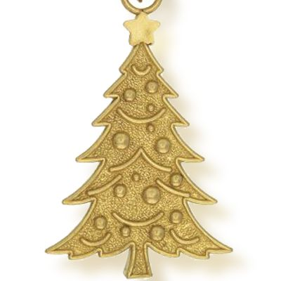 Personalized Jewelry: Celebrations: Yellow Gold-Tone Angelica Christmas Tree Expandable Bangle