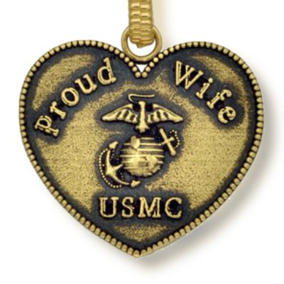 Personalized Jewelry: Military: Yellow Gold-Tone Angelica USMC Proud Wife Expandable Bangle