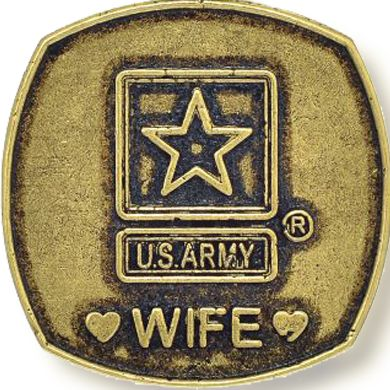 Personalized Jewelry: Military: Yellow Gold-Tone Angelica United States Army Wife Expandable Bangle