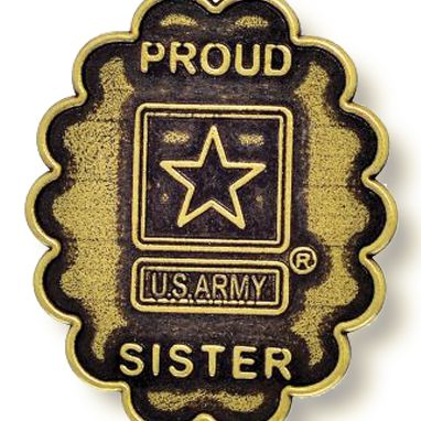 Personalized Jewelry: Military: Yellow Gold-Tone Angelica Army Proud Sister Expandable Bangle