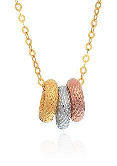Belk & Co. 14k Tri Color Gold Triple Ring Necklace