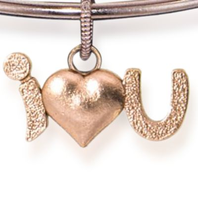 Personalized Jewelry: Symbols: Rose Gold-Tone Angelica I Love You Expandable Bangle