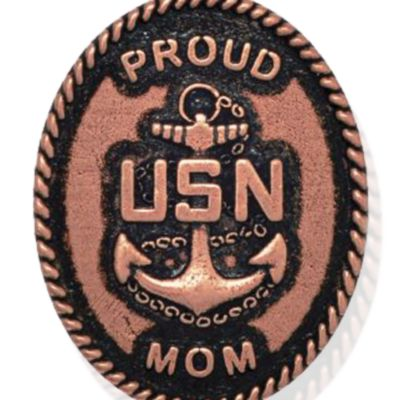 Personalized Jewelry: Military: Rose Gold-Tone Angelica United States Navy Proud Mom Expandable Bangle