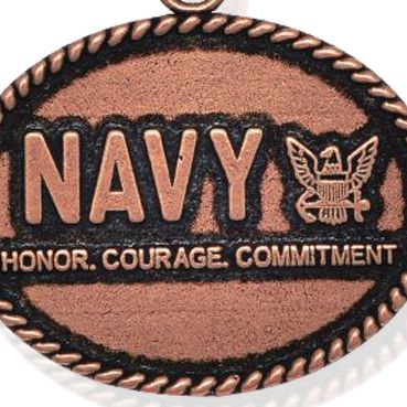 Personalized Jewelry: Military: Rose Gold-Tone Angelica Navy Honor, Courage, Commitment Expandable Bangle
