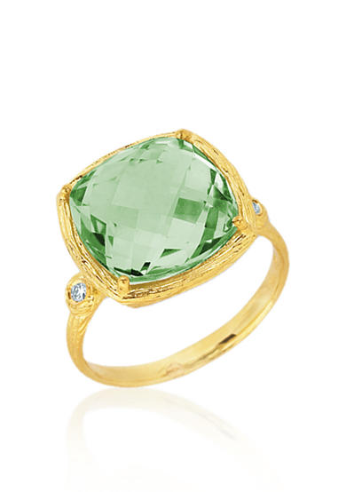 Belk & Co. 14k Yellow Gold Green Amethyst and Diamond Ring