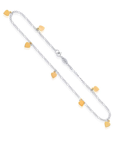 Belk & Co. Sterling Silver with 14k Yellow Gold Heart Anklet