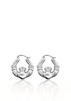 Belk & Co. 14k White Gold Claddagh Hoop Earrings
