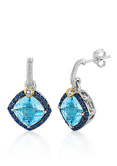 Phillip Gavriel® Sterling Silver with 18k Yellow Gold Blue Topaz, Iolite, and Diamond Earrings