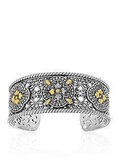 Phillip Gavriel® Sterling Silver and 18k Yellow Gold Starburst Cuff