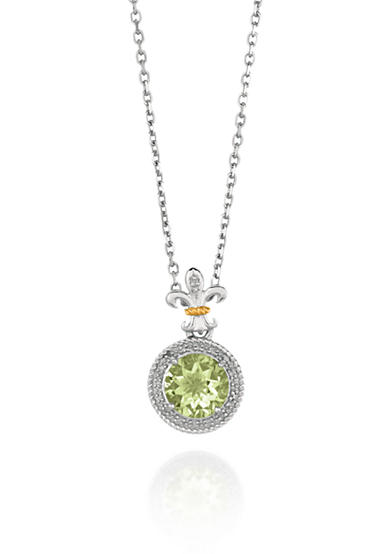 Phillip Gavriel® Sterling Silver with 18k Yellow Gold Green Amethyst and Diamond Pendant