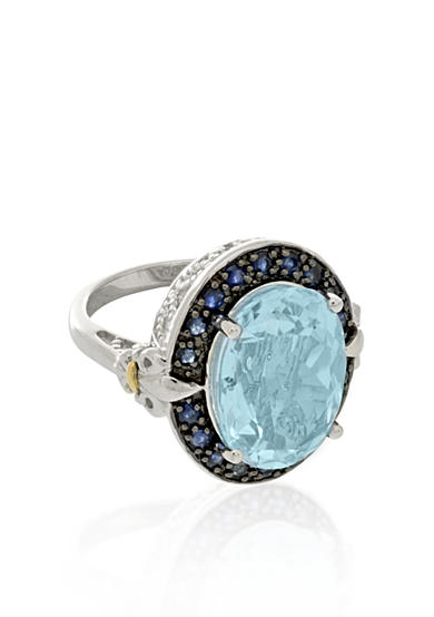 Phillip Gavriel® Sterling Silver with 18k Yellow Gold Blue Topaz Ring