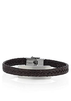 Belk & Co. Stainless Steel with Leather Bracelet